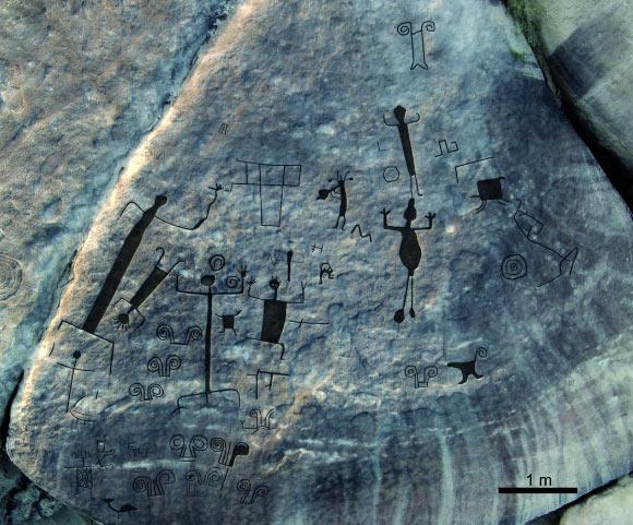 Аэрофотосъемка западной панели петроглифов