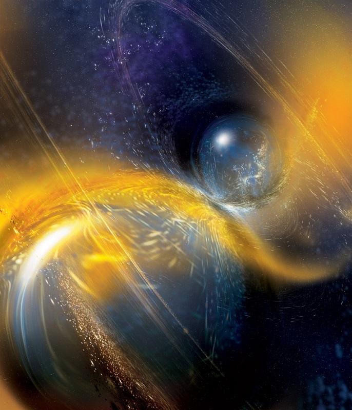 Столкновении двух нейтронных звезд