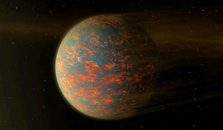 Впечатление художника о планете с расплавленной магматической поверхностью, похожей на то, какой могла быть Земля в первые дни своей жизни. © НАСА/JPL-Caltech