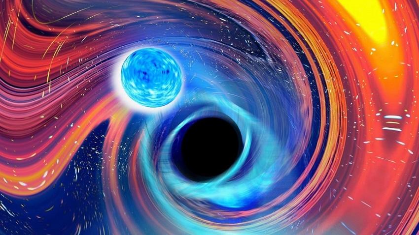 Художественный образ черной дыры, поглощающей нейтронную звезду