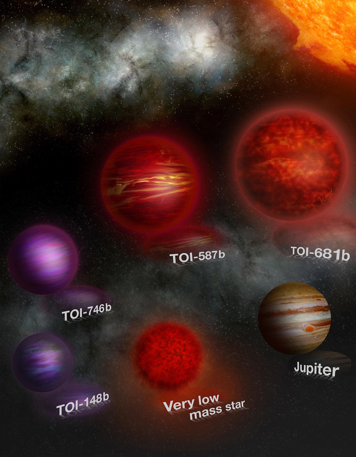 пять объектов, похожих на коричневые карлики, с массами, близкими к пределу горения водорода