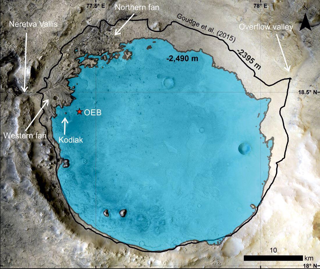 уровень палеоозера внутри кратера Джезеро