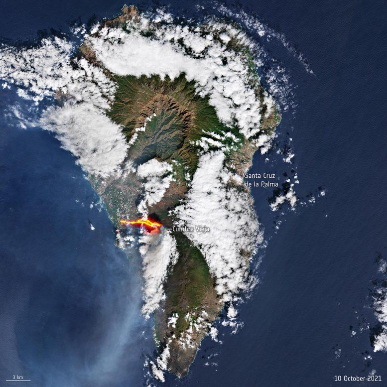 Вулкан Кумбре-Вьеха: как спутники помогают отслеживать извержение